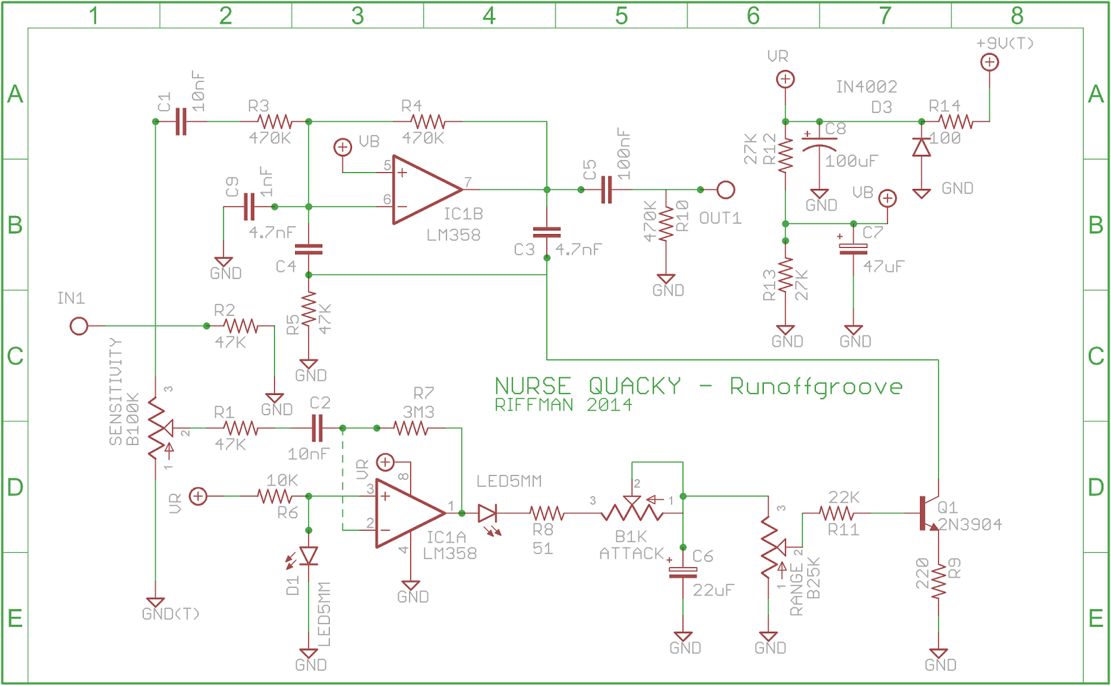 Riffman Guitar Effects Pedal Projects An Envelope Filter Project Schematic The Pcb Note To Use Right Click On Image And Paste Onto A Blank Word Sheet Print Copy Photocopy That Into Photopaper
