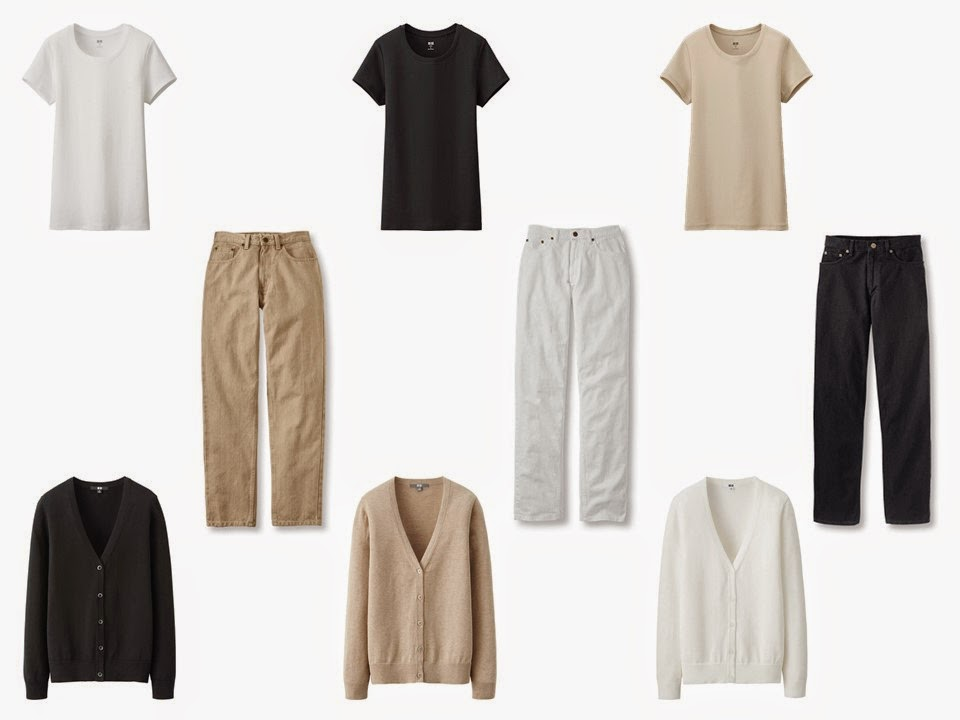 9-piece capsule wardrobe in black beige and white, with three tee shirts in black, white and beige, three pair of jeans in black, white and beige, and three cardigans in black, white and beige