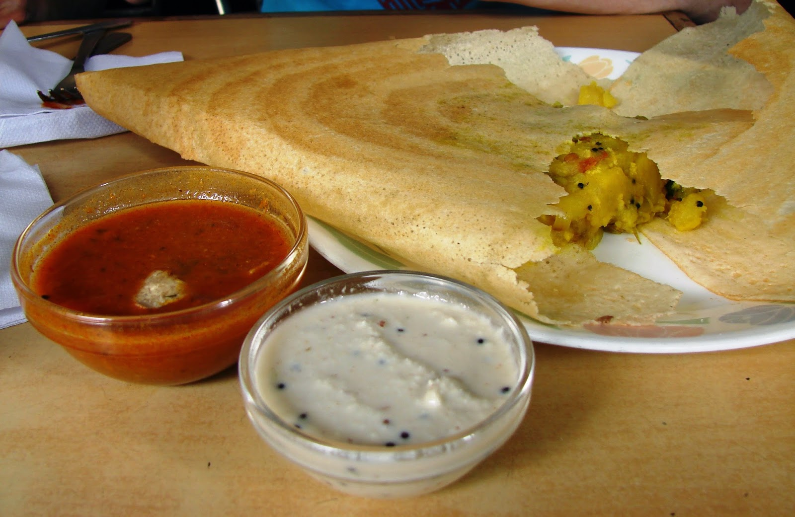 Masala Dosa with Chutneys Shiv Sagar Veg Restaurant Mumbai India