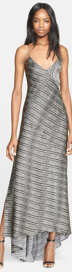 L'AGENCE 'Romy' Print Bias Silk Charmeuse Maxi Dress