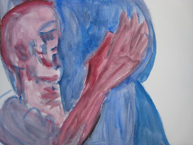 Pintura que muestra un beso en un pubis azul, obra de Emebezeta