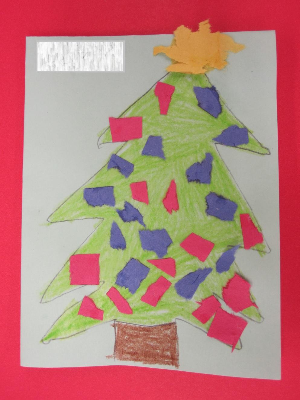 Teacher ink christmas card craft torn paper art tree for Christmas card christmas tree craft