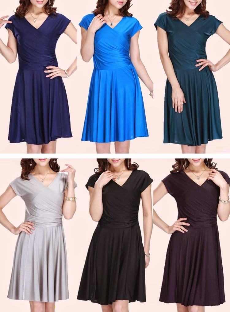 Short Sleeve V-neck Flare Dress NEW SILKY SOLID COLORS