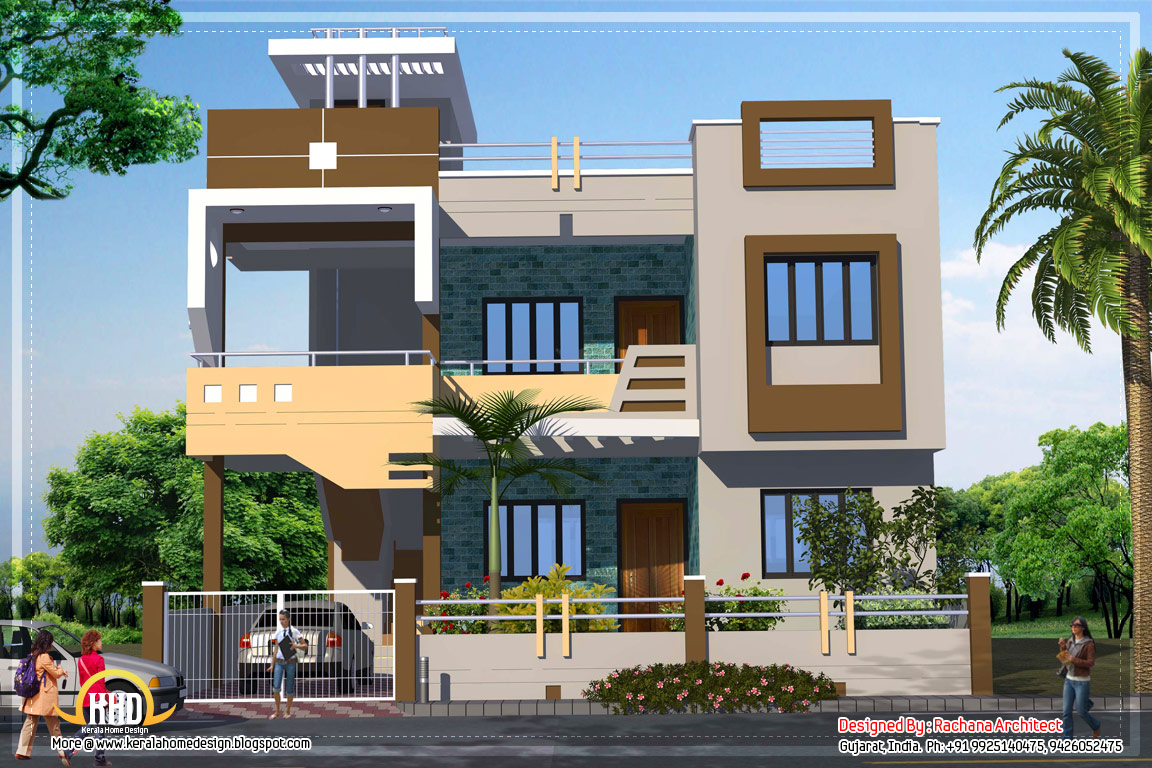 Contemporary india house plan 2185 sq ft indian home Indian small house design pictures