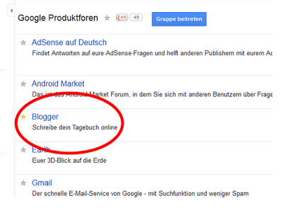 Screenshot der Google Produktforen