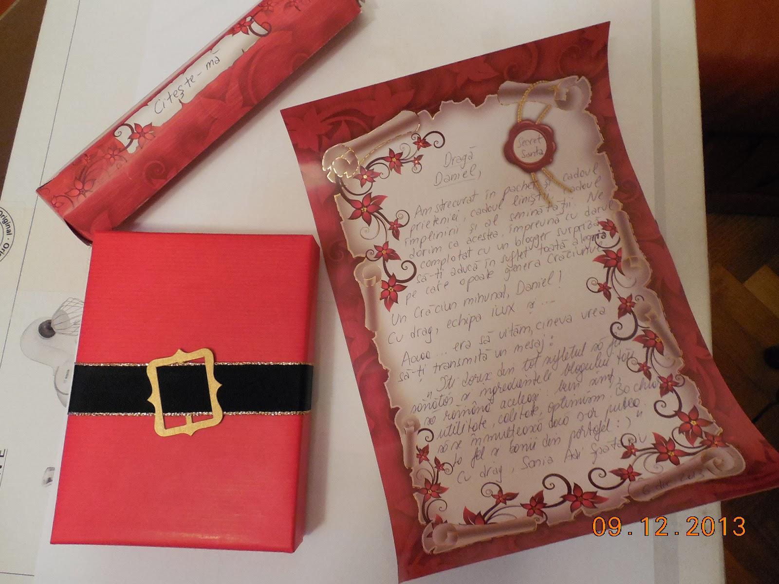 Secret Santa mi-a trimis cadou si scrisoare