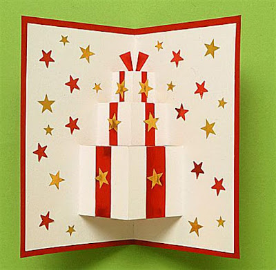 Birthday christmas present gift card pop up 3d tutorial step by step easy simple craft christmas decoration fun step 4