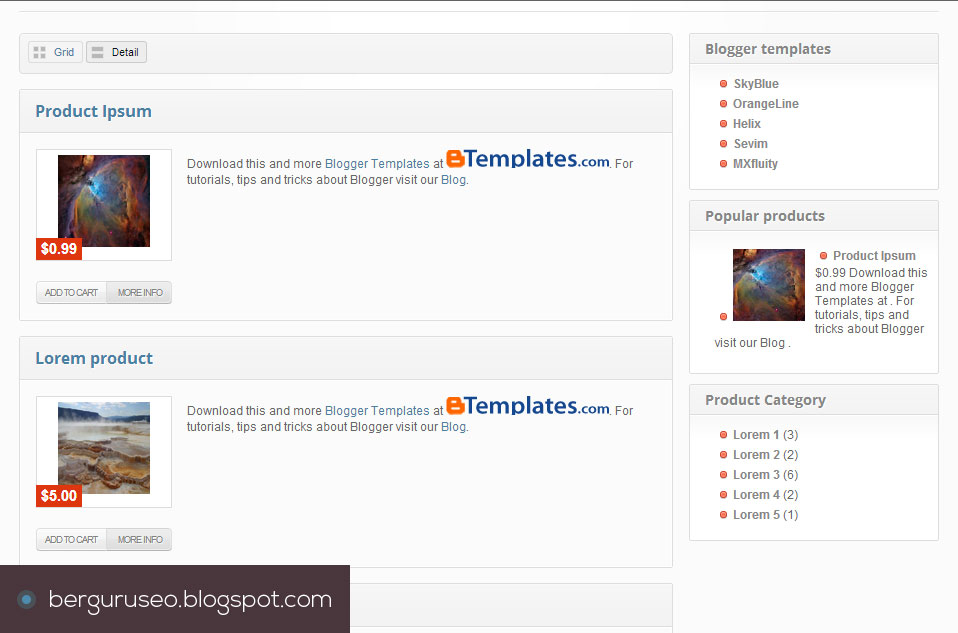 Template Blog Toko Online Blogger Store Detail