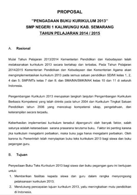 Contoh Proposal Untuk Pengadaan Buku Kurikulum 2013 Wiki Edukasi