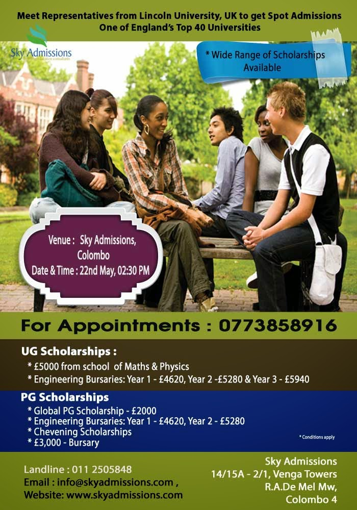 Meet Representatives from Lincoln University, UK to get Spot Admissions.