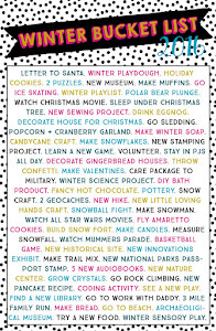 2016 Winter Bucket List!!