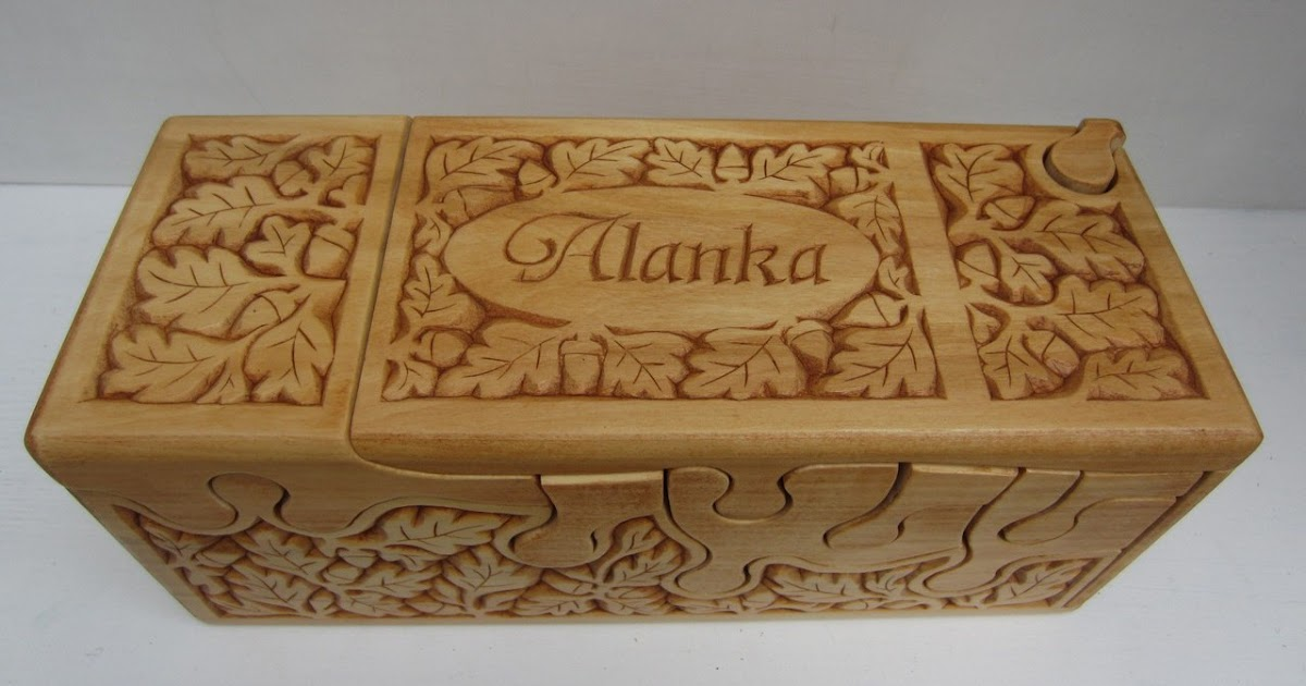 Ales the woodcarver chip carved puzzle box for alana