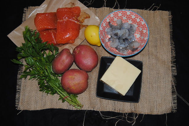 ingredients for a fish pie
