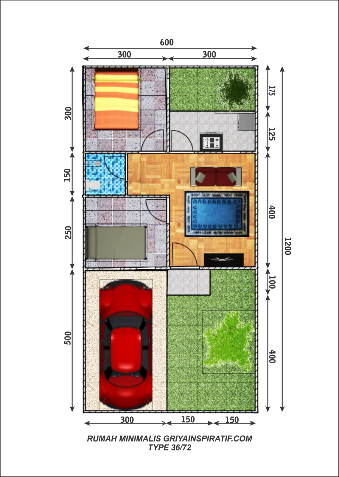 Denah Rumah Minimalis Type 36 72 Griya Inspiratif