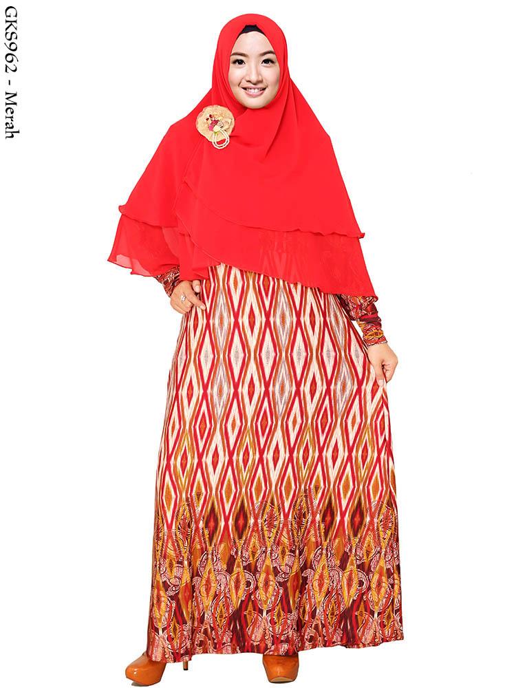 Gamis Jersey Batik Syar 39 I Gks962 Busana Muslim Murah