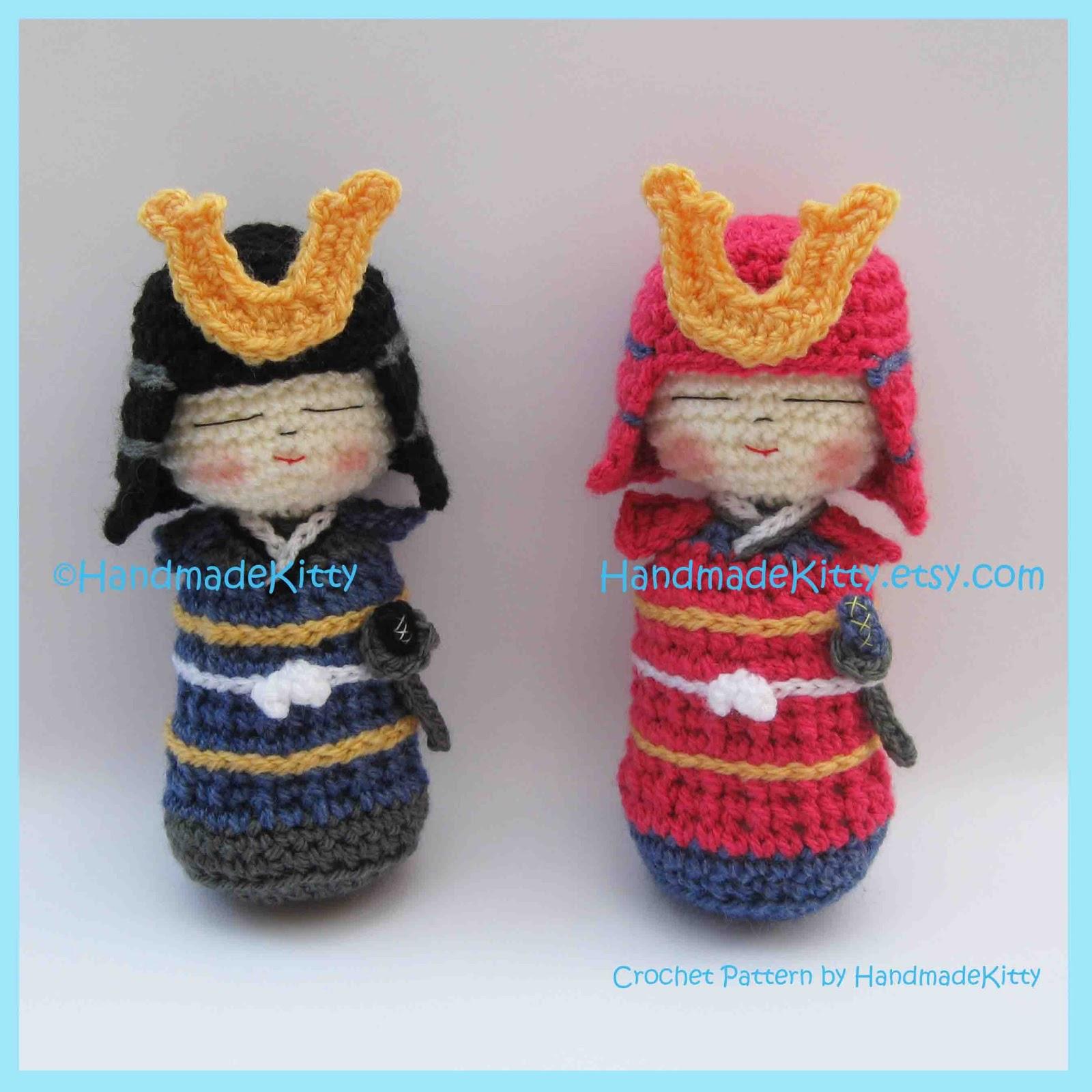 Free Onigiri Couple Amigurumi Crochet Pattern By Handmadekitty : HandmadeKitty: Samurai Kokeshi Amigurumi PDF Crochet ...