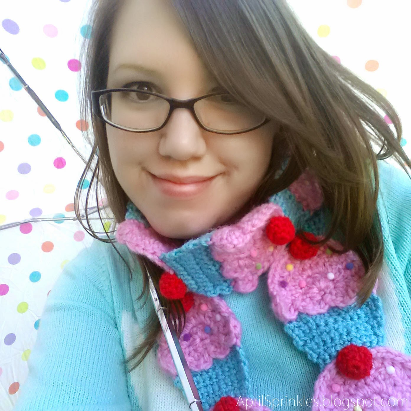 Pink and blue crochet cupcake scarf