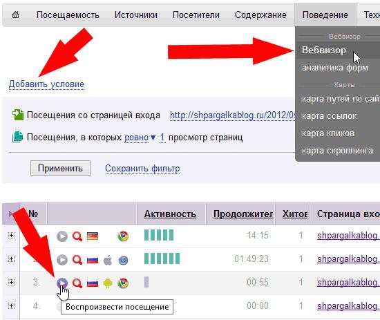 Анализ действий посетителей в Вебвизоре Яндекса конкретной страницы