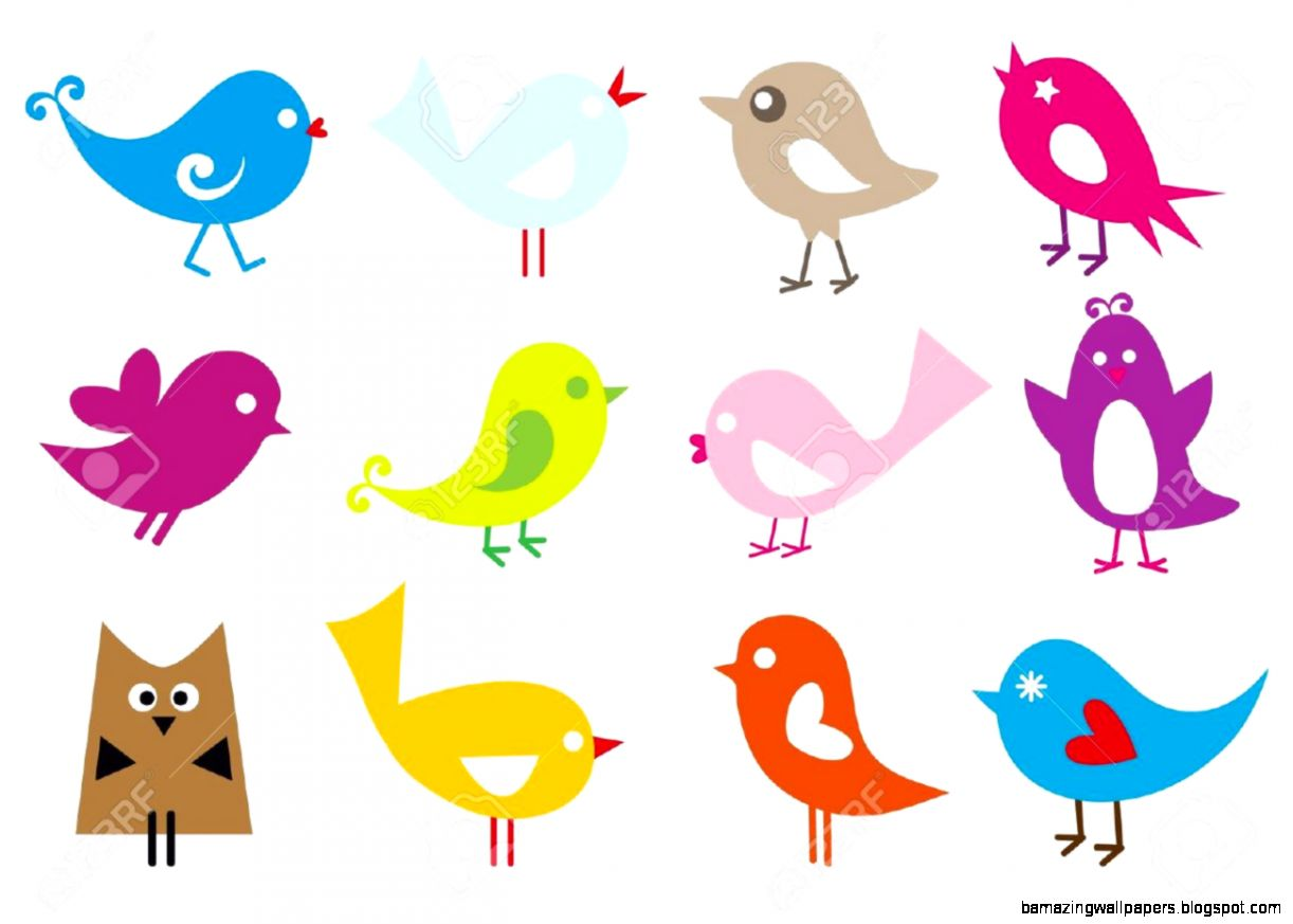 Set Of Cute Vector Birds Royalty Free Cliparts Vectors And Stock
