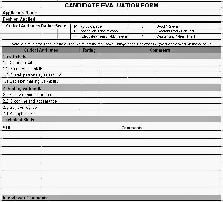 Candidate Evaluation Form. Candidate Assessment Form 47+ ...