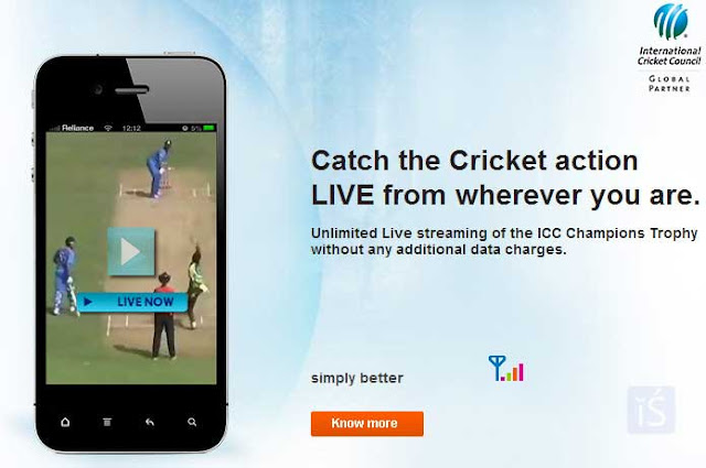 Free unlimited live streaming of Champions Trophy in Reliance 3G