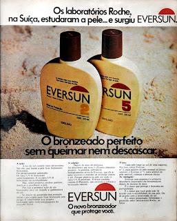 propaganda bronzeador Eversun - 1976. propaganda década de 70. Oswaldo Hernandez. anos 70. Reclame anos 70