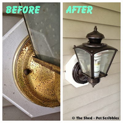 An ugly light fixture gets a makeover with some paint, brushes, and painters tape. Easy!