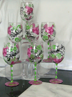 Personalized Hand Painted Wine Glass - Its all about the Dress the Shoes and the Booze