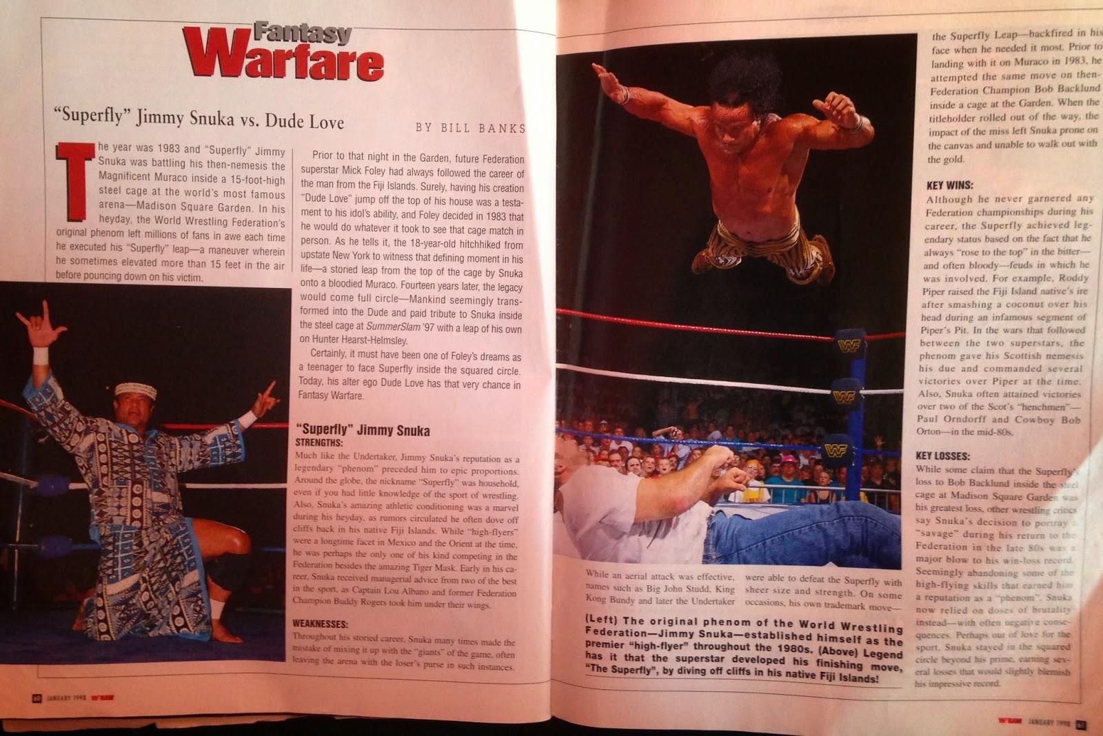 WWE: WWF RAW MAGAZINE - January 1998 - Dude Love vs. Jimmy Snuka fantasy warfare