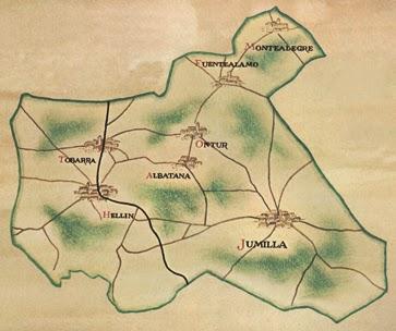 Mapa DO Jumilla con pueblos