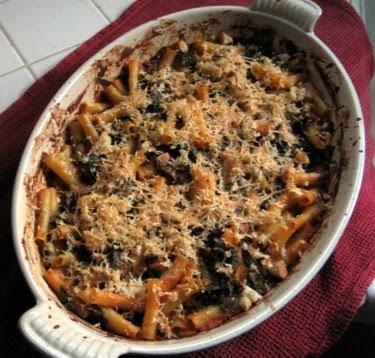 Pasta fagioli gratin with kale