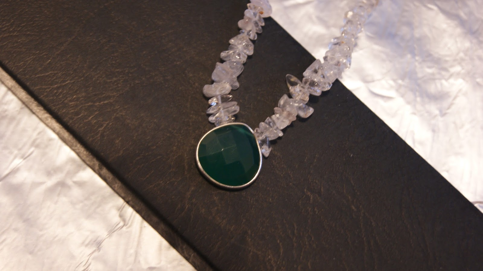 edolym clear quartz and green onyx necklace