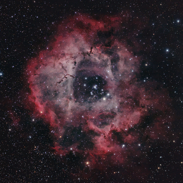 Image of Rosette Nebula with 80mm Telescope and unmodified Canon DSLR
