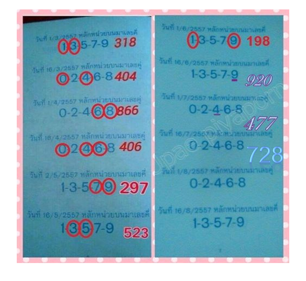Thai Lotto 3up Tass Tip Paper 01-08-2014