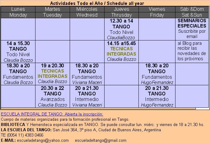 Horarios Tango todo el Año / Schedule all year