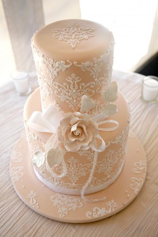 Peach Damask Wedding Cake Stunning peach and white damask pattern wedding
