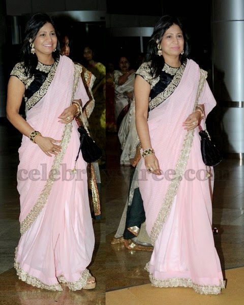 Light Pink Saree with Velvet Blouse