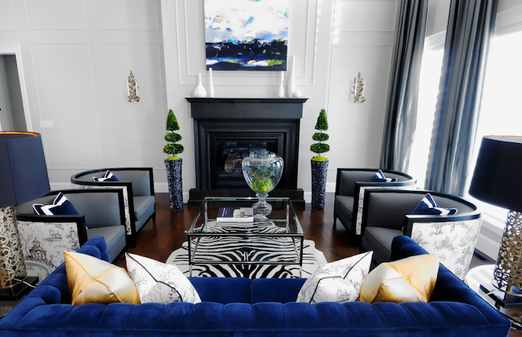 Black and white with royal blue decor native home garden for Blue black and white bedroom ideas