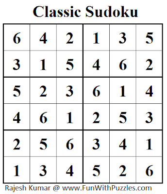 Classic Sudoku (Mini Sudoku Series #33) Solution