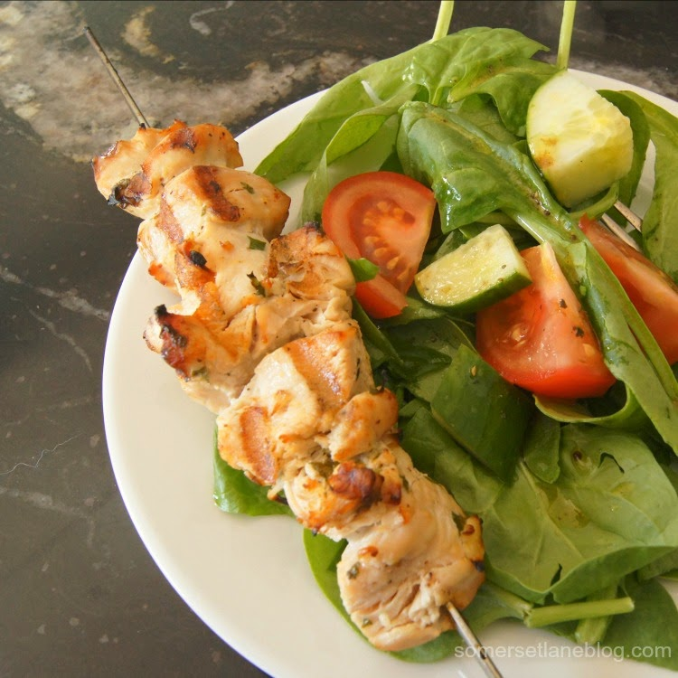 balsamic salad vinaigrette,  garlic lemon chicken kabobs