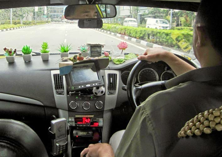 Inside of a Singapore cab