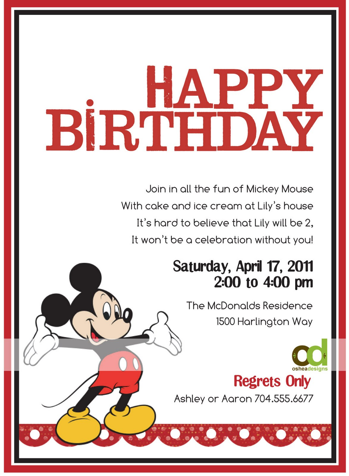 OSHEA DESIGNS - Customized Paper Goodies: Mickey Mouse Birthday ...