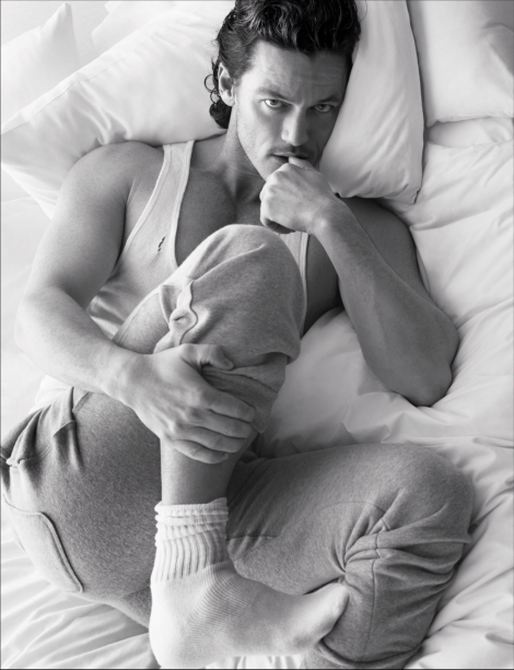 Luke Evans in bed by Mert & Marcus for 'Pillow Tweets'