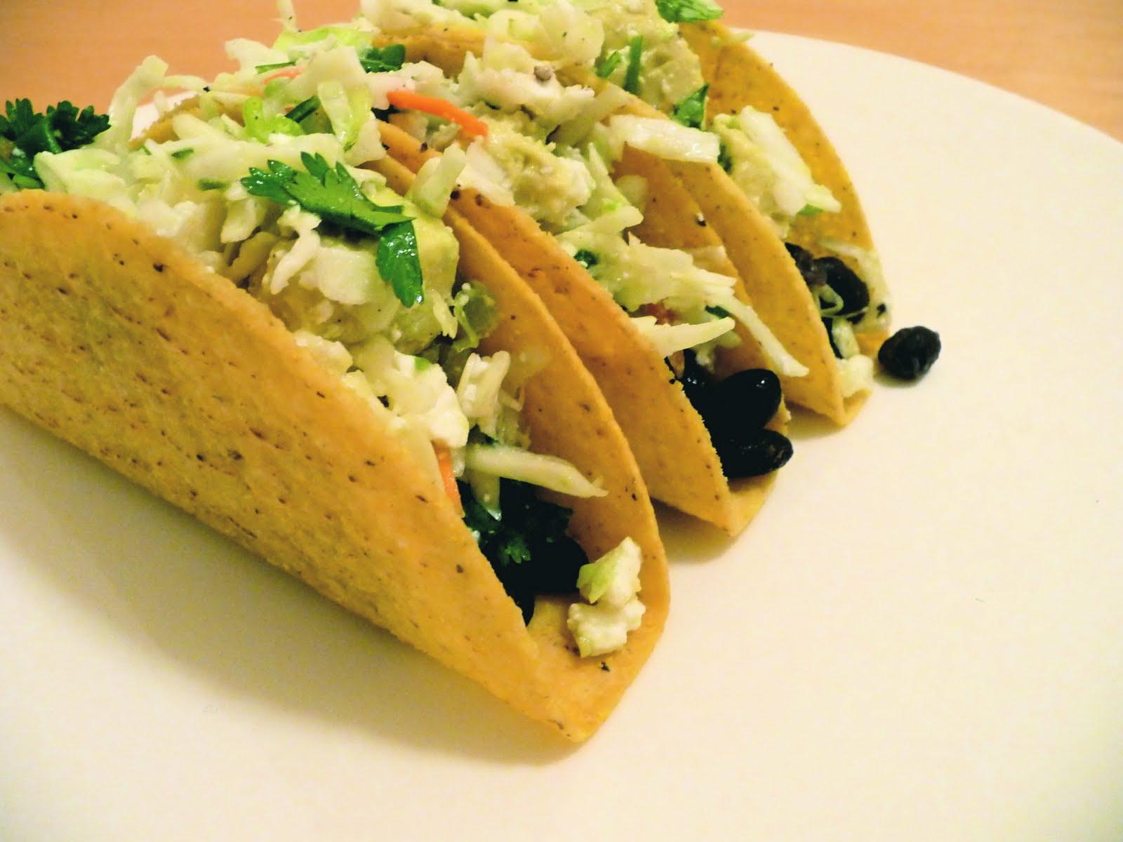 dinner party: crispy black bean tacos with feta slaw