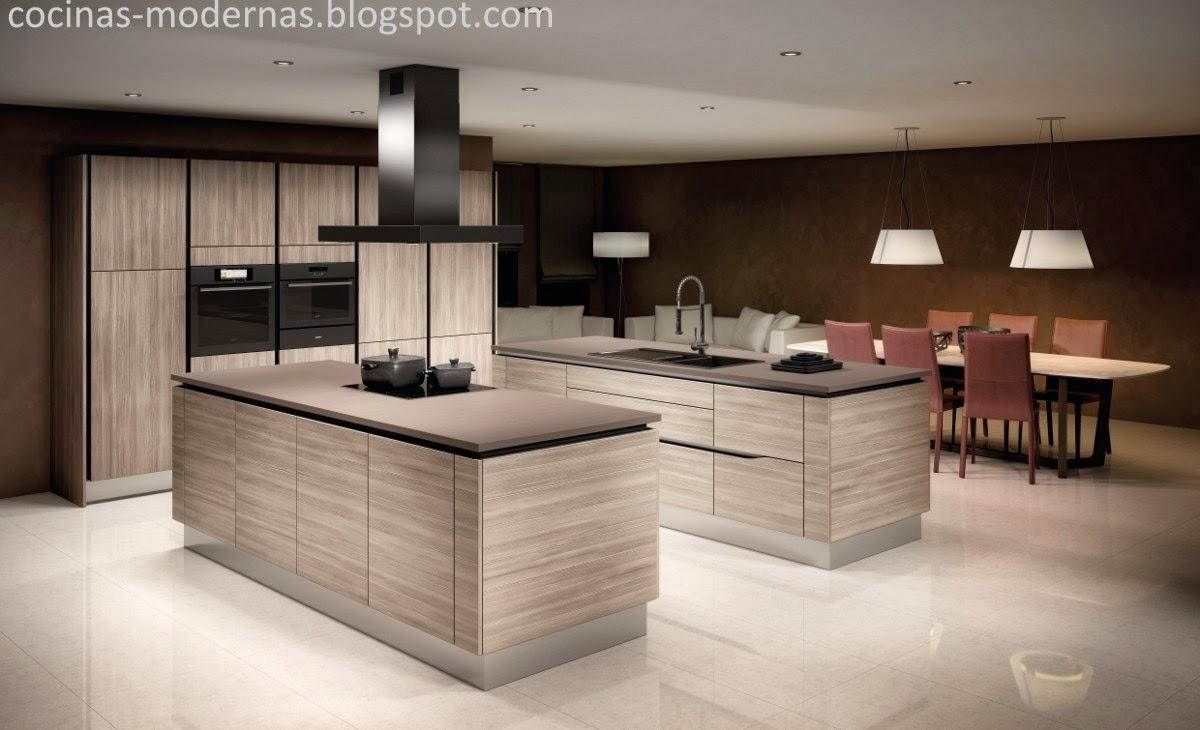 Cocinas modernas cocina moderna madera y aluminio negro for Salas de madera modernas