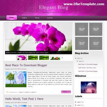 Elegant Blog Blogger Template. featured content image slider blogger template