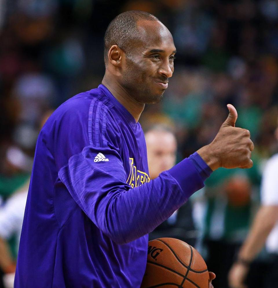 Kobe Bryant gave a thumbs-up to someone in the Boston crowd during pregame warmups.