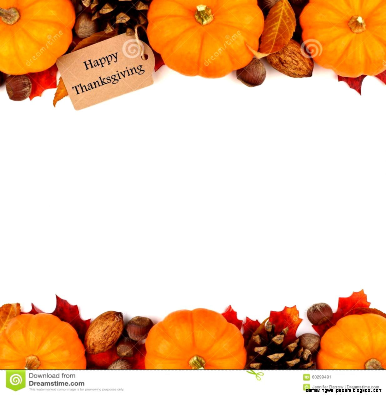 Happy Thanksgiving Tag With Autumn Double Border Over White Stock