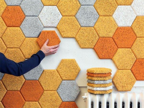 hexagon baldosas de madera
