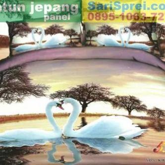 Sprei Katun Jepang Panel Swan Love